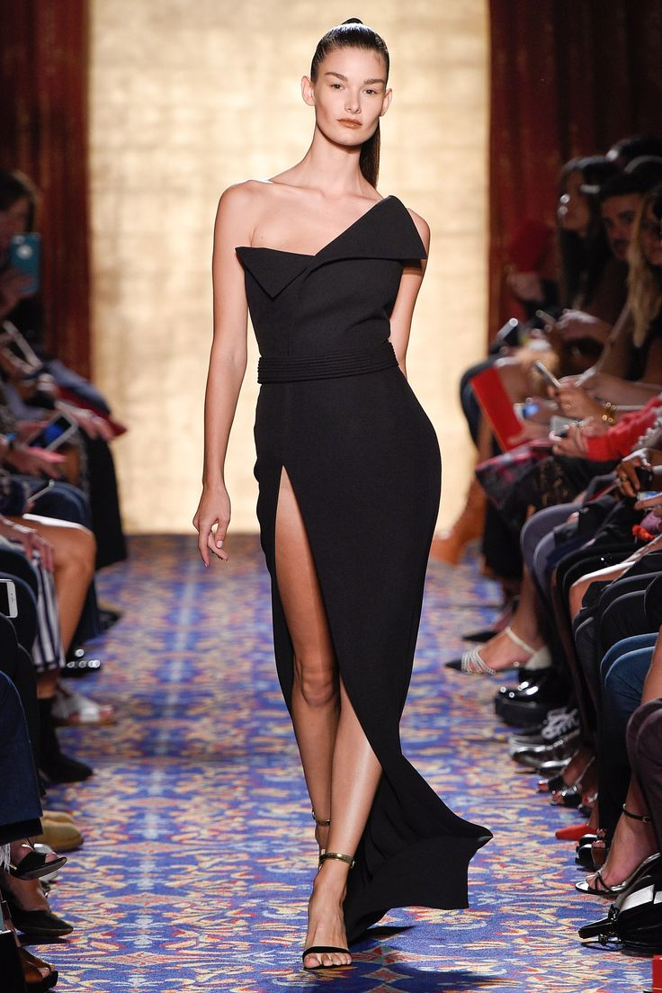 Brandon Maxwell Spring 2017 Ready-to-Wear: Edgy! I like the asymmetrical neckline with the sexy thigh high slit.