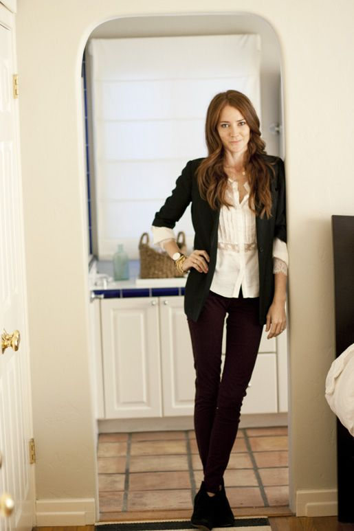 blazer + cream blouse + burgundy skinny jeans + black ...