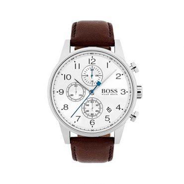 1513495 Ανδρικό quartz ρολόι HUGO BOSS Navigator με λευκό καντράν & καφέ δερμάτινο λουρί | Ανδρικά ρολόγια BOSS ΤΣΑΛΔΑΡΗΣ στο Χαλάνδρι #Boss #Navigator #λουρι #ανδρικο #ρολοι