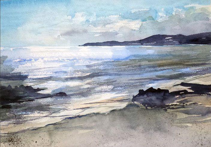 """Landschaftsaquarell """"Lust auf Meer - Morgenfrische, Watercolor by Jopie Bopp"""
