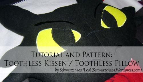 Free sewing pattern Toothless / How to train your dragon pillow!      Kostenloses Schnittmuster: Ohnezahn / Drachenzähmen leicht gemacht Kissen    - Found on http://schwarzchaos.wordpress.com/ -