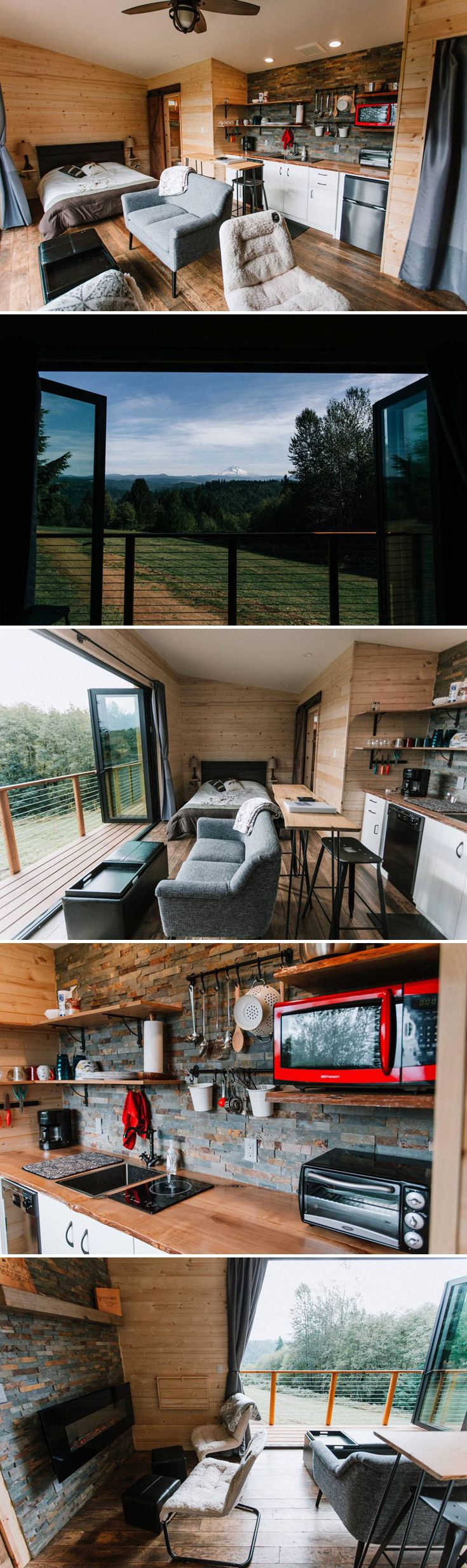 With its moving window wall, the Mt Hood View Tiny House offers a spectacular view of Oregon's Mt Hood. Reclaimed hardwood floors, live edge countertops, and slate tile give the home a rustic cabin feel.