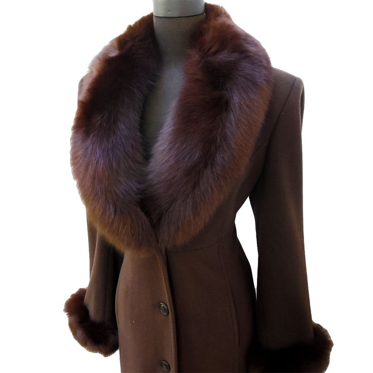 SALE   Women's 80s Vintage 1920s Style Iconic Marvin Richards Wool Cashmere Real Fox Fur Princess Coat   Size 8   Slow Burn Threads by SlowBurnThreads on Etsy
