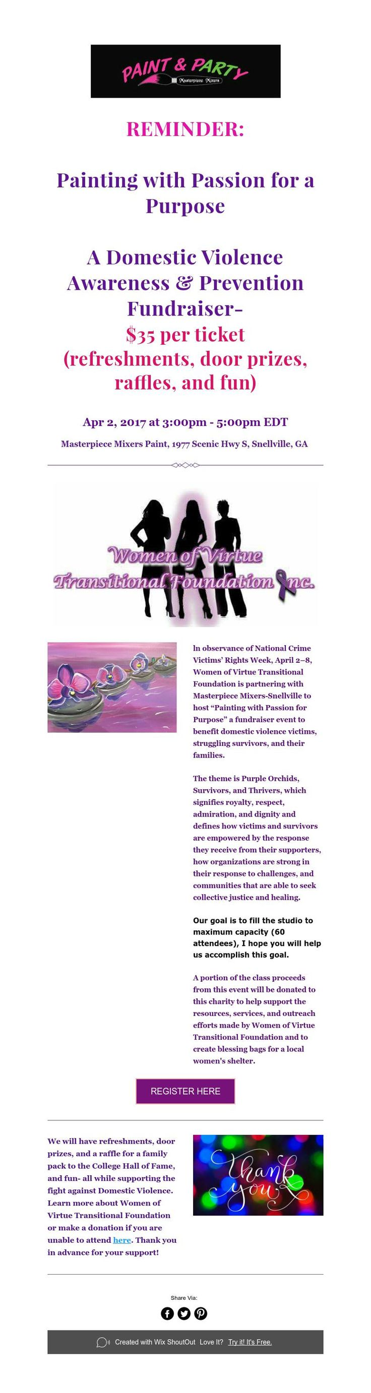 Ideas For Giving Away Door Prizes door games r us Reminder Painting With Passion For A Purpose A Domestic Violence Awareness Prevention Fundraiser