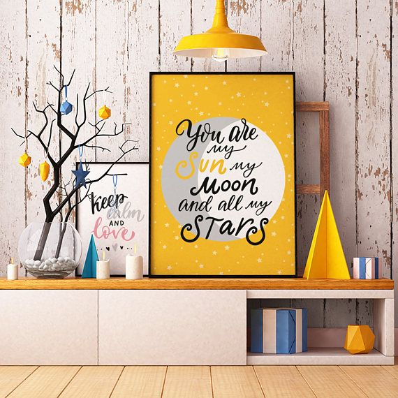 You are my sun, my moon and all my stars - INSTANT DOWNLOAD - Art, Yellow, Printable Art, Quote, Illustration Artwork, Digital Art