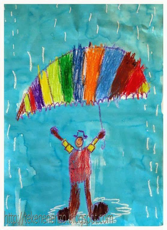 • Zelfportret in de regen. De kleuters tekenen zichzelf en een paraplu met wasco. Daarna tekenen ze regendruppels en plassen met witte wasco. Tot slot overschilderen met ecoline verf •