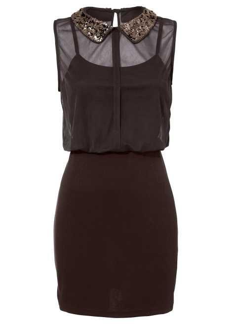Elegantes Trend-Kleid mit Paillettenkragen - dunkelbraun