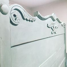 painted headboards Mix of 4:1 old white and duck egg blue Chalk Paint® by Annie Sloan.
