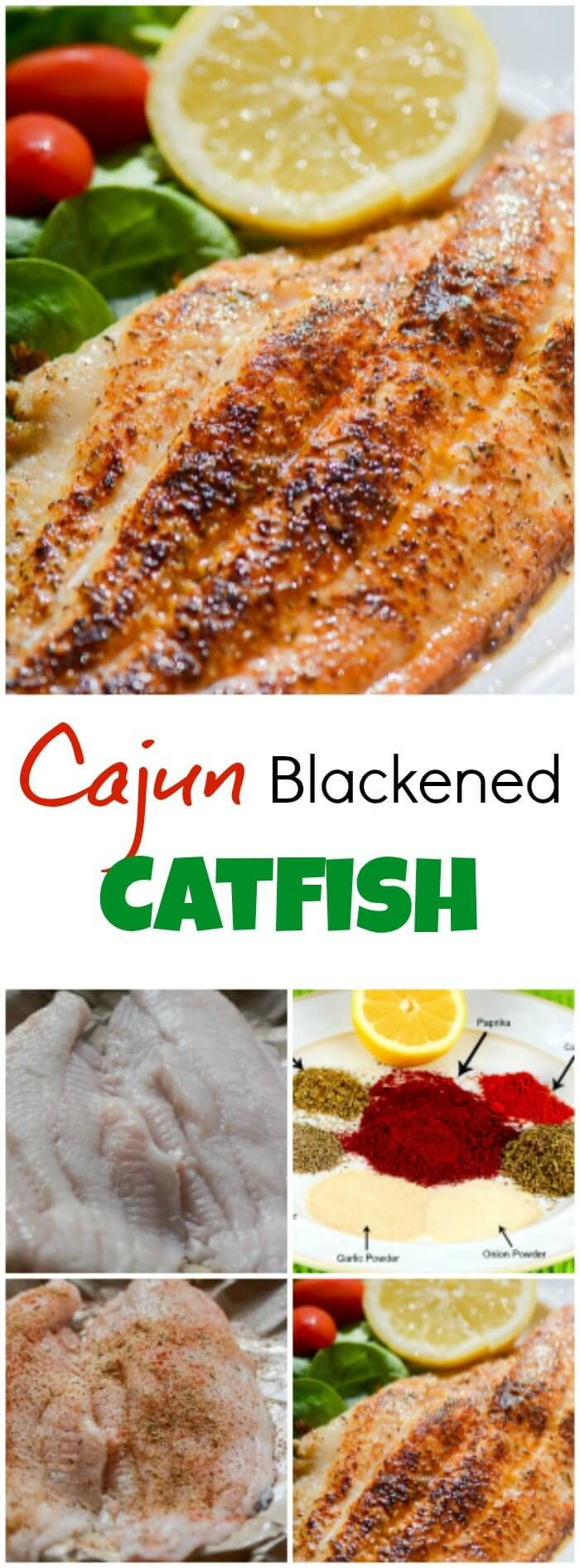 Cajun Blackened Catfish is a quick and easy, healthy, delicious, spicy seafood dish that makes an excellent weeknight supper, or Mardi Gras Dinner, and fits into most healthy eating plans, including low fat, low carb, gluten-free, and paleo. ~ http://FlavorMosaic.com