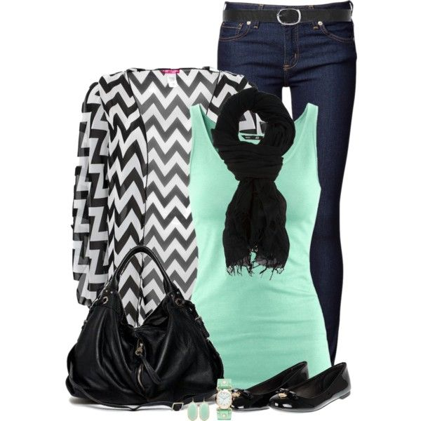Black & White Chevron, created by immacherry on Polyvore