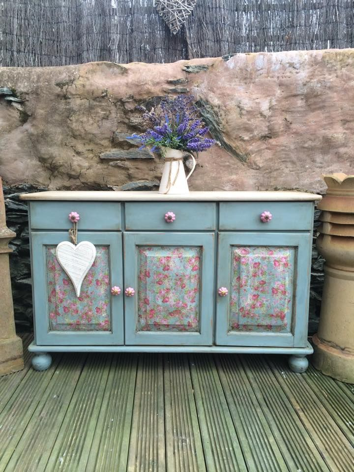 I love this cupboard and the backdrop too! Some great Annie Sloan and decoupage work here by Jade Doutch of The Rogues Den - Antique & Vintage Curiosities