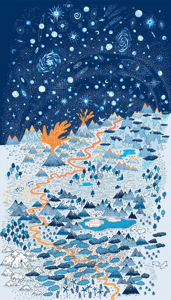 –Landscape poster by Vikki Chu. Reminds me of DnD adventure maps.
