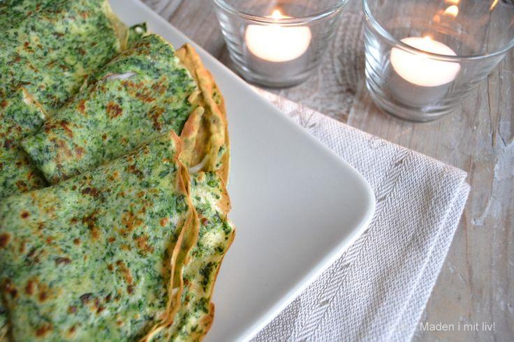spinatpandekager med skinke og ost