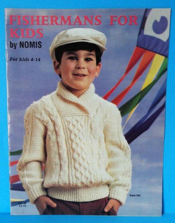 Nomis Knitting Pattern Book #Fishermans For Kids Aran Pullover Cardigan Irish Sweater Boys Girls 4-14 Vol 34 Vintage 1986
