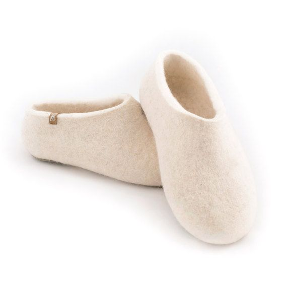 White Felted Slippers for Women Organic Wool Honeymoon by Wooppers