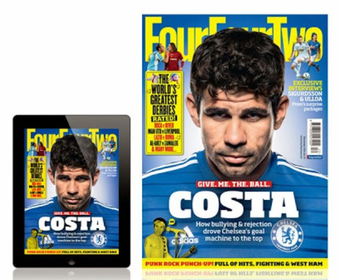 DIEGO COSTA on the cover of December 2014 FourFourTwo magazine