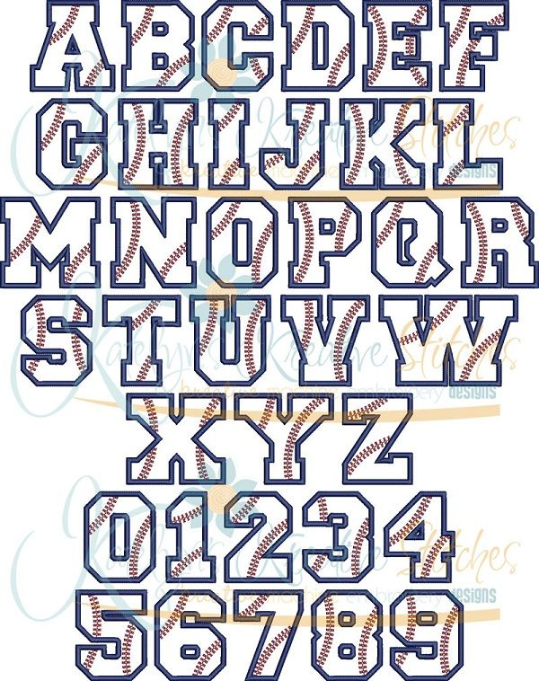 Baseball Applique Font - 5 Sizes katelyns kreative stitches