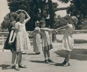 """Wash the dishes"" game. Government school playground, Melbourne, 1954.  Source: Australian Children's Folklore Collection, Museum Victoria."