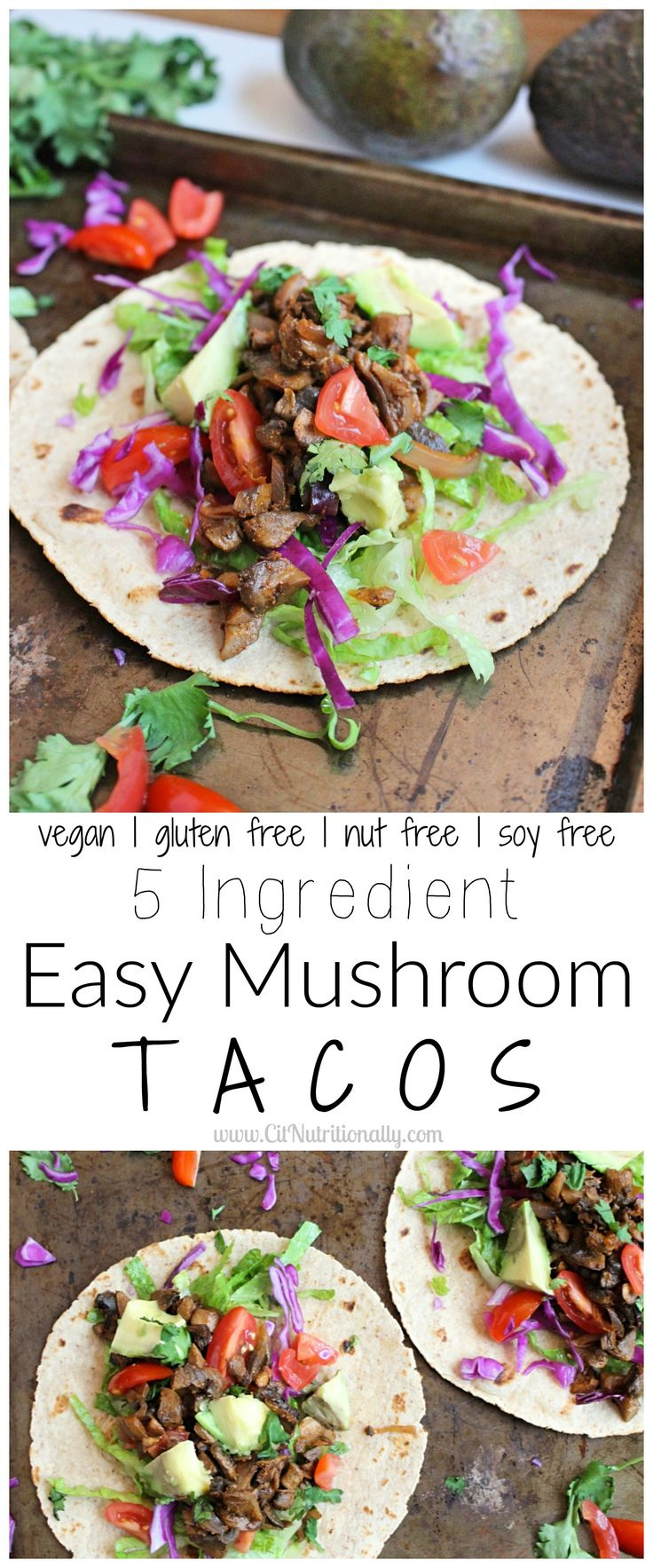 5 Ingredient Easy Mushroom Tacos {Vegan. Gluten free.}   C it Nutritionally