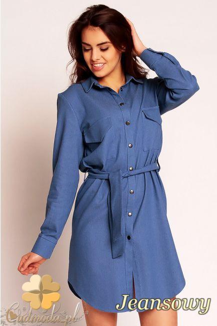 Zapinana na napy sukienka jeansowa marki Nommo.  #cudmoda #moda #ubrania #odzież #clothes #sukienki #styl #dresses