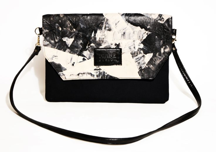 Hand painted clutch - blach and white - #clutch #bag #black #beige #hungary #budapest #hungariandesign #hungariandesigner #canvas #print #abstract #pattern #fashion #design