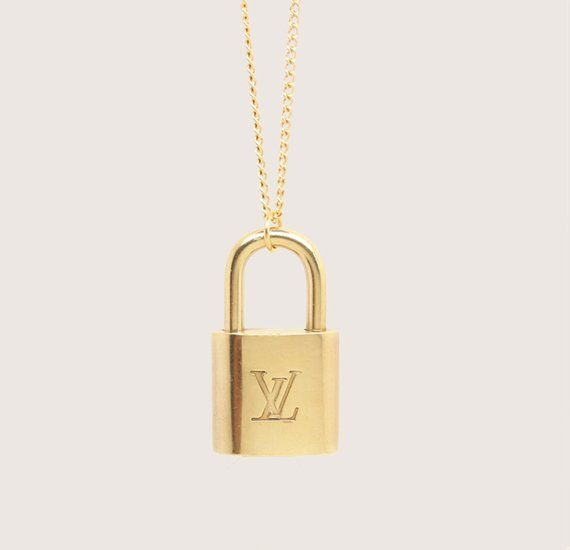 Re Purposed Louis Vuitton Padlock Necklace Gold Tone Solid Brass Padlock With Iconic L Initial Necklace Gold Louis Vuitton Necklace 14k Gold Initial Necklace