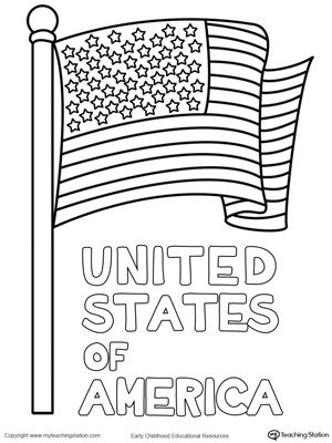 United States of America Flag Coloring Page Flag