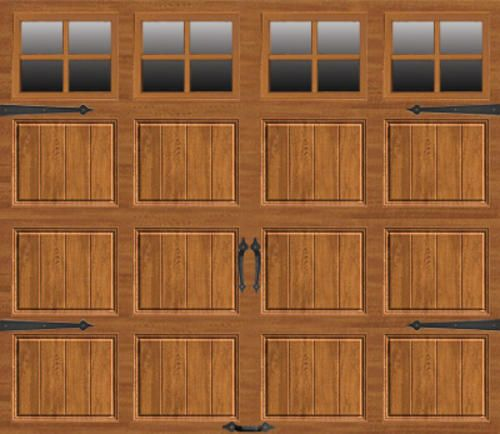Ideal Carriage House Stamped Steel MR1SP 9 ft. x 7 ft. Medium Oak Garage Door with SQ22 Lites
