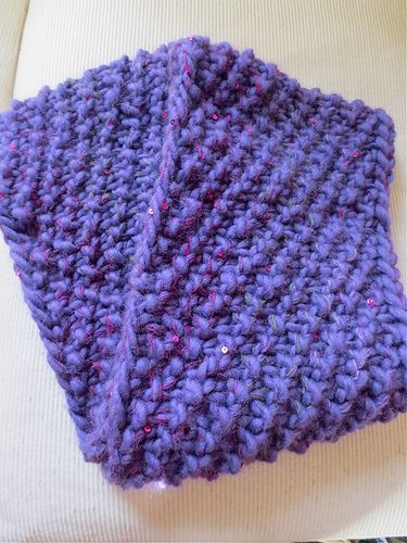 Knit cowl using super chunky yarn and size 17 circular needles. Cast on 95 st...