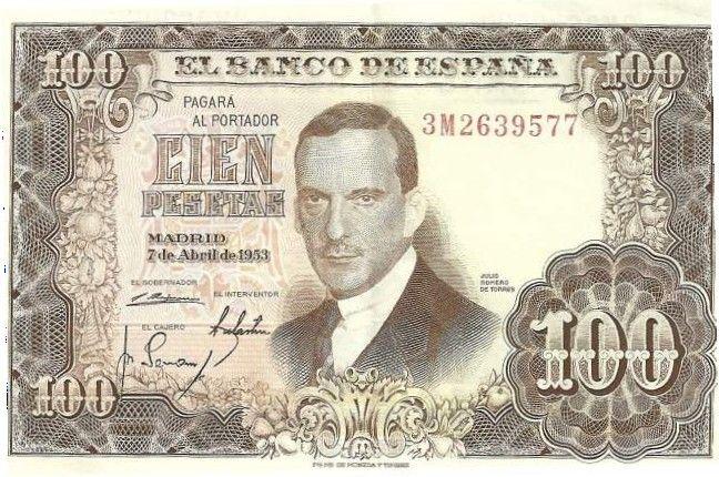 El banco de España dedico a Julio Romero de Torres el billete de cien pesetas en 1953.
