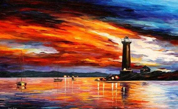 NEW. Lighthouse — PALETTE KNIFE Oil Painting On Canvas by Leonid Afremov on AfremovArtStudio, $299.00