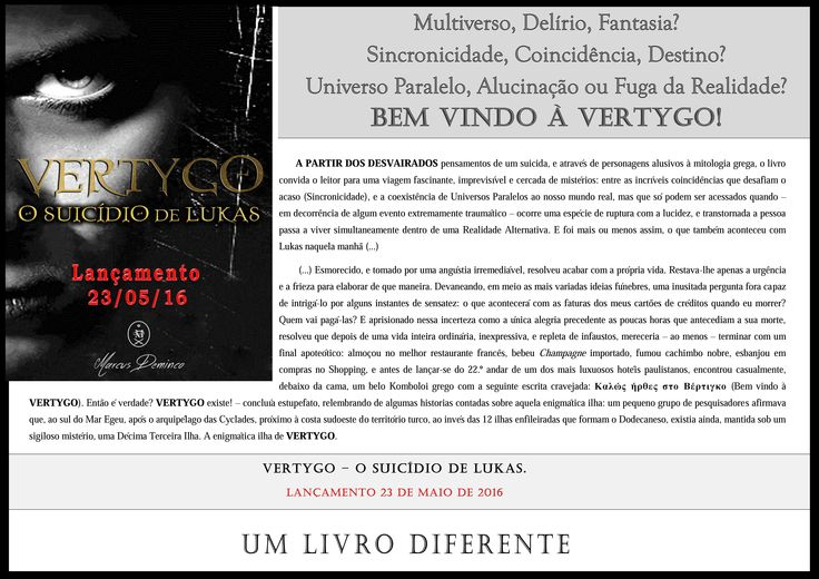 VERTYGO - O Suicídio de Lukas. > Lançamento: 23/05/16 < Detalhes do Livro: https://drive.google.com/…/0B2YnP1qEjl0IYVpJSXNOcmhIcU0/view Disponível em Pré-Venda: http://www.amazon.com.br/dp/B01EZ2ZDT6
