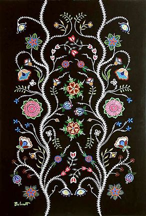 """Canadian Artist Christi Belcourt, """"The Métis were skilled in silk embroidery, quill work, and moose hair tufting but beadwork became their preferred form of art. They developed their unique and distinctive floral patterns, prompting other First Nations to call them the """"Flower Beadwork People"""". Their beadwork emphasized symmetry, balance, and harmony in patterns extracted from nature and from the models of European lacework and church decoration."""" http://www.belcourt.net/home.html"""