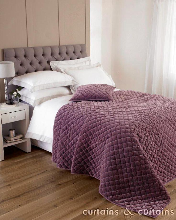 Cotton Velvet Quilted Plum Purple Bedspread Velvet Plum