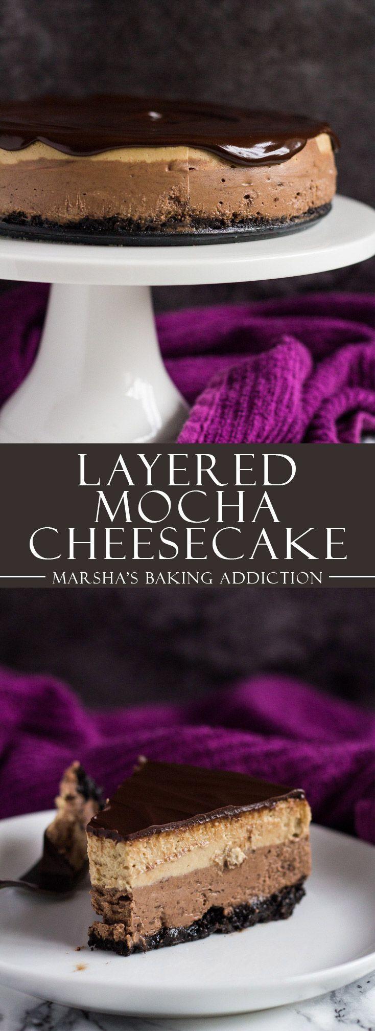 Layered Mocha Cheesecake | http://marshasbakingaddiction.com /marshasbakeblog/