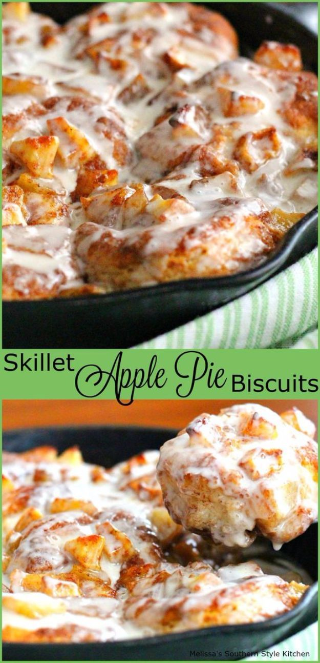 Best Canned Biscuit Recipes - Skillet Apple Pie Biscuits - Cool DIY Recipe Ideas You Can Make With A Can of Biscuits - Easy Breakfast, Lunch, Dinner and Desserts You Can Make From Pillsbury Pull Apart Biscuits - Garlic, Sour Cream, Ground Beef, Sweet and Savory, Ideas with Cheese - Delicious Meals on A Budget With Step by Step Tutorials http://diyjoy.com/best-recipes-canned-biscuits