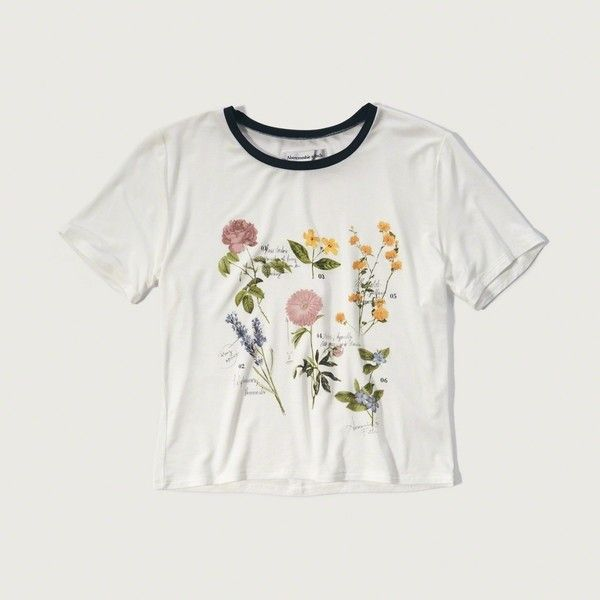 Abercrombie & Fitch Graphic Boy Tee ($8.40) ❤ liked on Polyvore featuring tops, t-shirts, tees, cream floral, graphic crop tops, graphic design t shirts, crew neck tee, floral tops and graphic tees