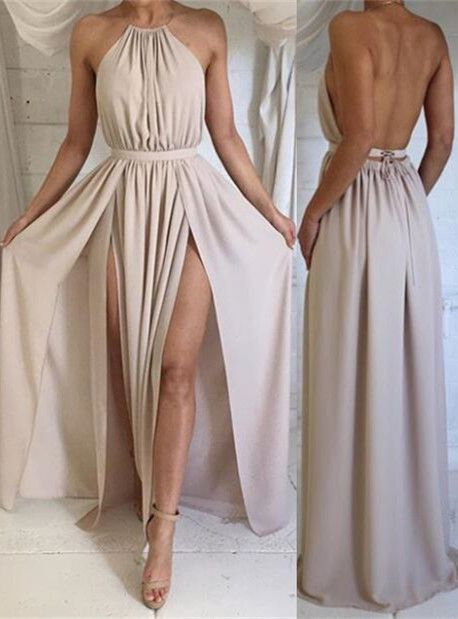 b9869899c4c Sexy Halter Backless Long Boho Party Dress with Slit from modsele ...