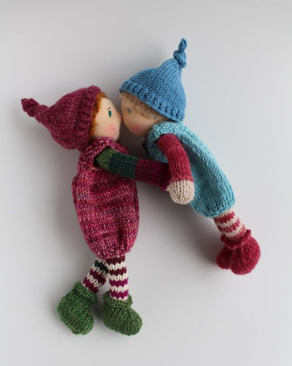 "Waldorf doll, Waldorf knitted doll 8"" / 20 cm - Svenja - Waldorf elf, Waldorf gnome, pixie, Waldorfpuppe, fairy"