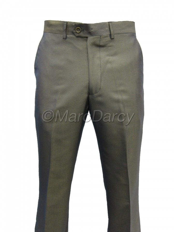 Mens Two tone Shiny Gold Plain Front Regular Fit Trousers