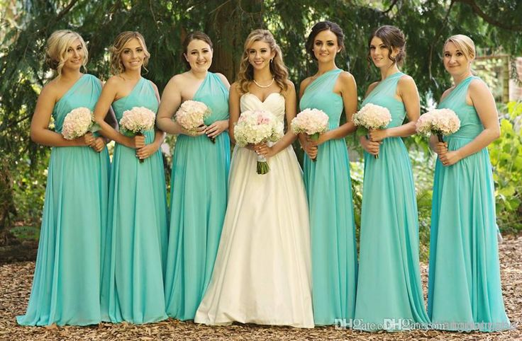 2014 Modest A Line One Shoulder Cheap Maid Of Honor Long Floor Length Ruched Chiffon Turquoise Bridesmaid Dresses UM1639
