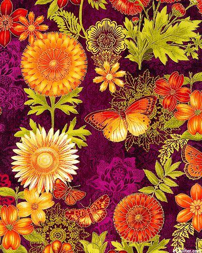 Joyful Blooms - Marigolds & Butterflies - Quilt Fabrics from…