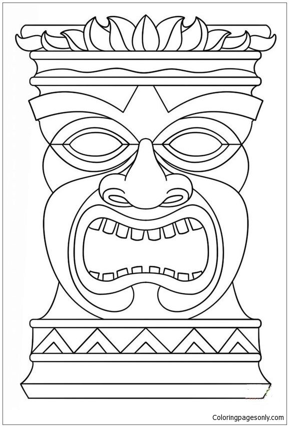 Hawaiian Tiki Masks Coloring Page Tiki Totem Tiki Mask