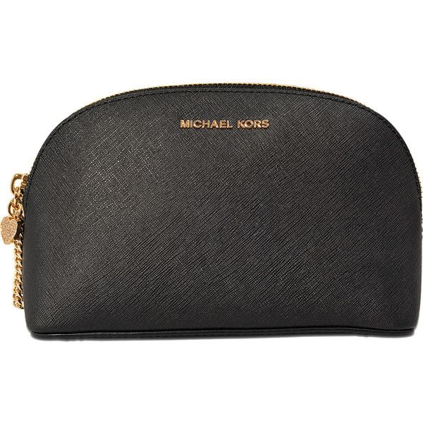 Michael Kors Alex LG Travel cosmetic pouch found on Polyvore featuring beauty products, beauty accessories, bags & cases, bags, black, black cosmetic bag, wash bag, michael kors, travel cosmetic bag and travel toiletry bag