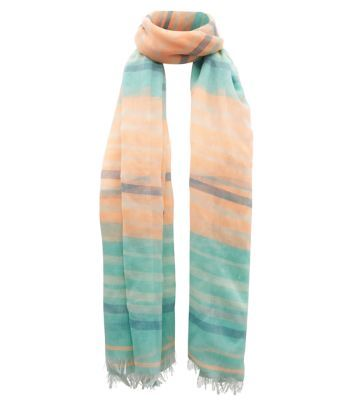 Neon Coral and Mint Green Stripe Scarf