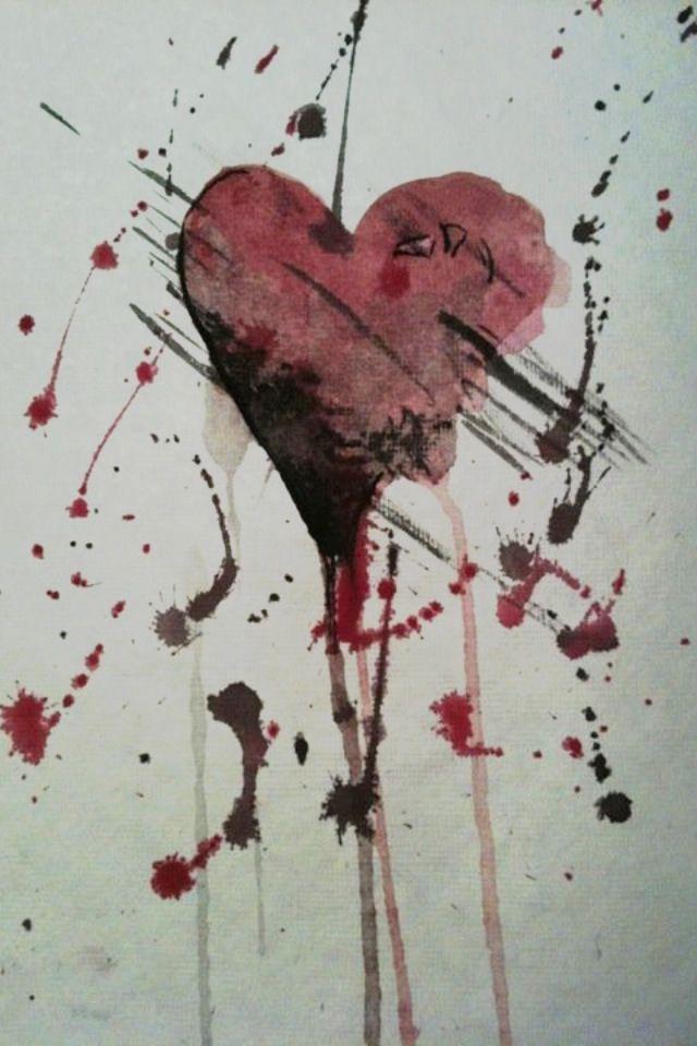 Splattered Heart by SolunaII.deviantart.com