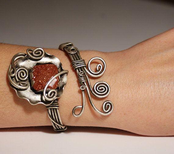 goldstone cuff bracelet  wire wrappedgoldstone by BeyhanAkman, $41.00