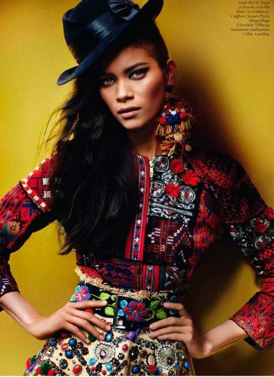 Peruvian fashion worn by Juana Burga Cervera and photographed by Mario Testino,