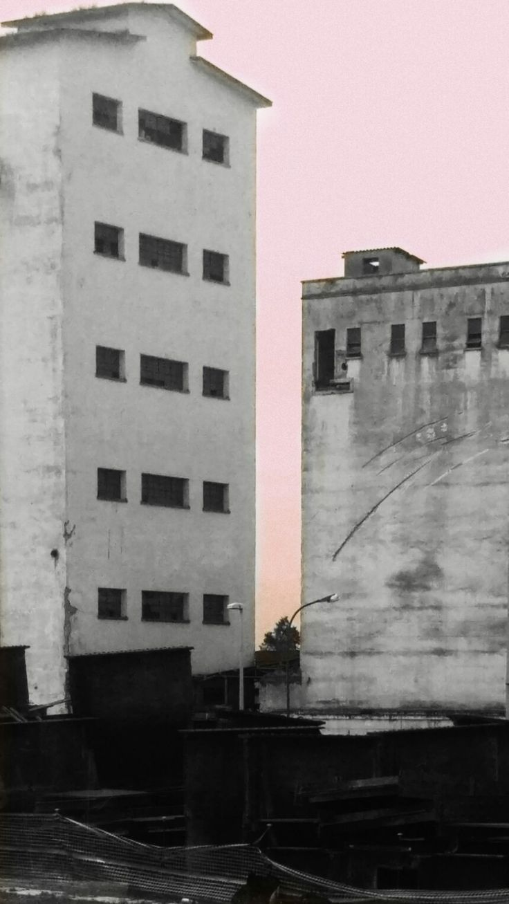 #abandoned #buildings #contrast #bw #pink #sky #edit