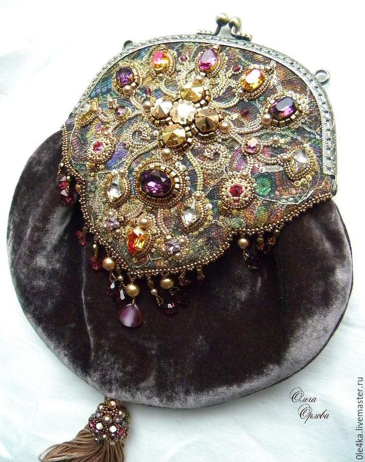 Купить Палевая романская сумочка - бежевый, сумочка с фермуаром, ольга орлова, кристаллы сваровски (swarovski)
